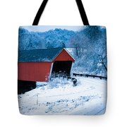 Red Vermont Covered Bridge Tote Bag