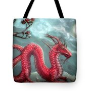 Red Water Dragon And Tree Tote Bag
