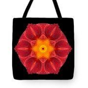 Red Wet Lily Flower Mandala Tote Bag