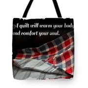 Red White And Blue Quilt With Quote Tote Bag