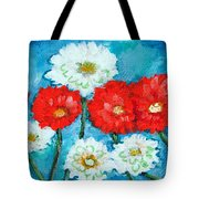 Red White And Blue Zinnia Flowers Tote Bag