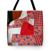Red White And Gingham With Flowery Blocks Patchwork Quilt Tote Bag