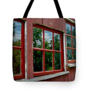 Red Windows Paned Tote Bag