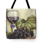 Red Wine And Grape Leaf Tote Bag by Debbie DeWitt
