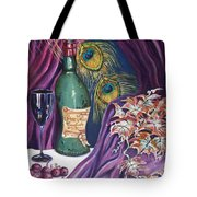 Red Wine And Peacock Feathers Tote Bag
