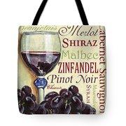 Red Wine Text Tote Bag by Debbie DeWitt