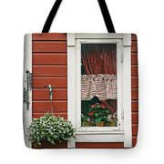 Red Wooden House With Plants In And By Tote Bag