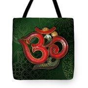 Red Wooden Om Green Mandala Tote Bag
