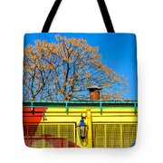 Red Yellow And Blue Building Tote Bag