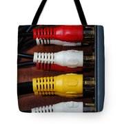Red Yellow And White Cables Tote Bag