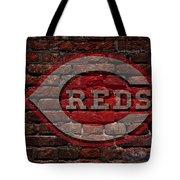 Reds Baseball Graffiti On Brick  Tote Bag