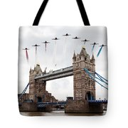 Reds Over Tower Bridge Tote Bag