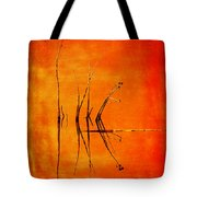 Reeds And Reflection In Orange Tote Bag