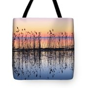 Reeds Reflected In Water At Dusk Ile Tote Bag