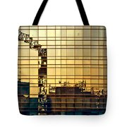 Reflected Cranes At Sunset Tote Bag