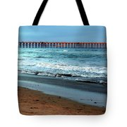Reflected Sunlight At Pier's End Tote Bag