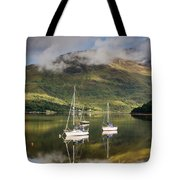 Reflected Yachts In Loch Leven Tote Bag