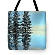 Reflecting Evergreens In Winter Tote Bag