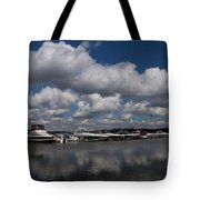 Reflecting On Boats And Clouds - Port Perry Marina Tote Bag