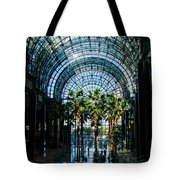 Reflecting On Palm Trees And Arches Tote Bag by Georgia Mizuleva