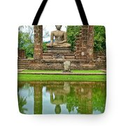 Reflecting Pool At Wat Mahathat In 13th Century Sukhothai Historical Park-thailand Tote Bag