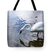 Reflection Of A Lone White Swan Tote Bag