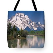 Reflection Of A Mountain Range Tote Bag