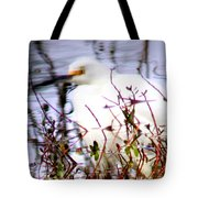 Reflection Of A Snowy Egret Tote Bag