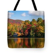 Reflection Of Autumn Trees In A Pond Tote Bag