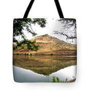 Reflection Of Butte Across From Lepage Rv Park Into Columbia River-oregon Tote Bag