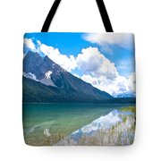 Reflection Of Glaciers And Clouds In Emerald Lake In Yoho National Park-british Columbia-canada Tote Bag