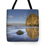 Reflection Of Haystack Rock At Cannon Beach 3 Tote Bag
