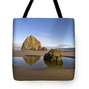 Reflection Of Haystack Rock At Cannon Beach Tote Bag