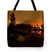Reflection Of Mountains In Lake, Sunrise Tote Bag