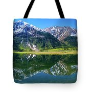 Reflection Of Mountains In Tern Lake Tote Bag