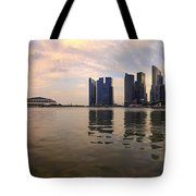 Reflection Of Singapore Skyline Panorama Tote Bag