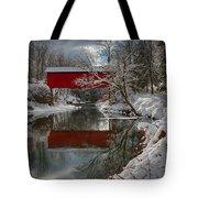 reflection of Slaughterhouse covered bridge Tote Bag