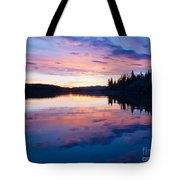 Reflection Of Sunset Sky On Calm Surface Of Pond Tote Bag