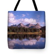 Reflection Of Trees And Clouds Tote Bag