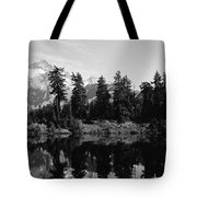 Reflection Of Trees And Mountains Tote Bag