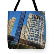 Reflections In The Rolex Bldg. Tote Bag