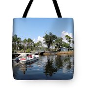 Reflection's Of A Lone Fisherman Tote Bag