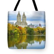 Reflections Of Autumn Central Park Lake  Tote Bag