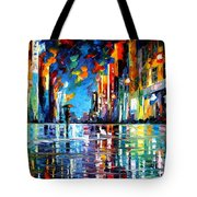 Reflections Of The Blue Rain - Palette Knife Oil Painting On Canvas By Leonid Afremov Tote Bag