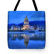 Reflections Of The West Virgina Capitol Building Tote Bag