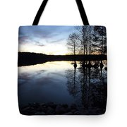 Reflections On Lake At Sunset Tote Bag
