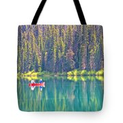 Reflective Fishing On Emerald Lake In Yoho National Park-british Columbia-canada  Tote Bag