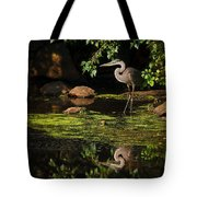Reflective Heron Tote Bag by Sylvia J Zarco