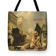 Refreshment Stall In St. Petersburg, 1858 Oil On Canvas Tote Bag