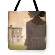Regency Period Woman With Mansion In Background Tote Bag